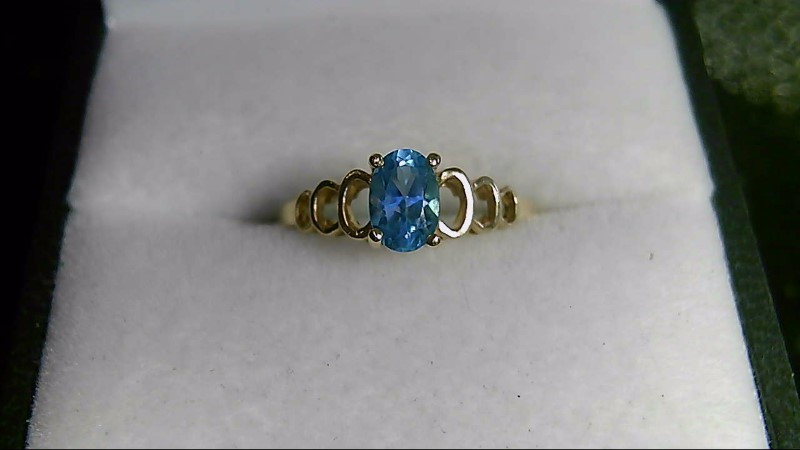 Oval Blue Topaz Lady's Stone 10K Yellow Gold Ring
