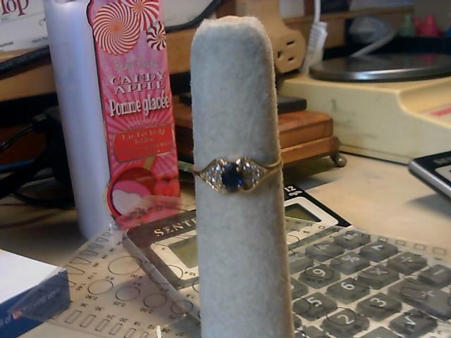 Blue Stone Lady's Stone & Diamond Ring 12 Diamonds .24 Carat T.W.