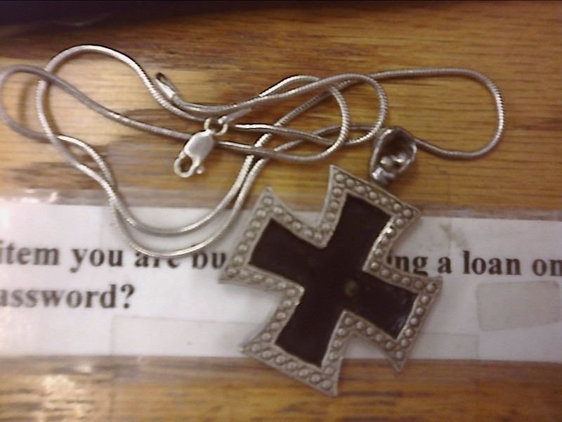 "18"" Silver Chain 900 Silver 3.7dwt & Iron Cross Pendant"