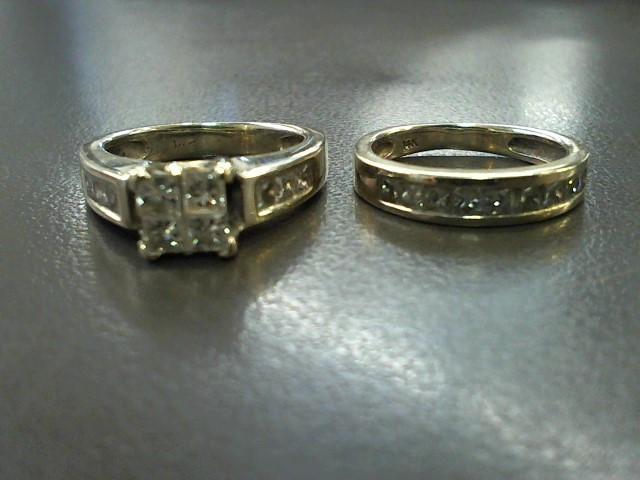 Lady's Diamond Wedding Set 19 Diamonds 1.02 Carat T.W. 14K White Gold 7.8g