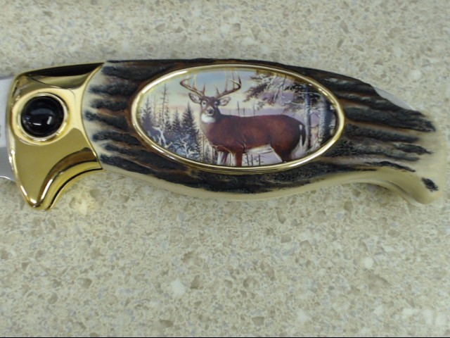 FRANKLIN MINT COLLECTORS KNIFE SINGLE DEER DESIGN