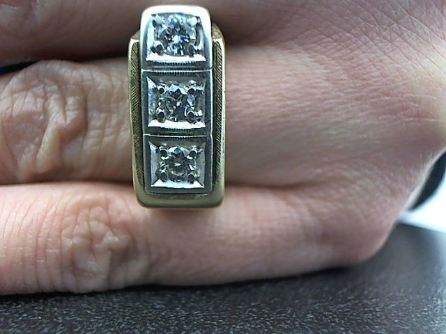Gent's Diamond Fashion Ring 3 Diamonds .45 Carat T.W. 14K 2 Tone Gold 10.1g