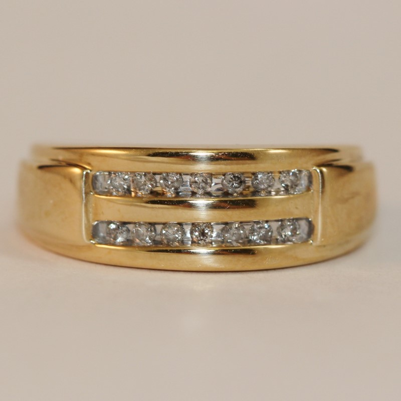 10K Yellow Gold Dual Channel Set Diamond Wedding Band Size 8.3