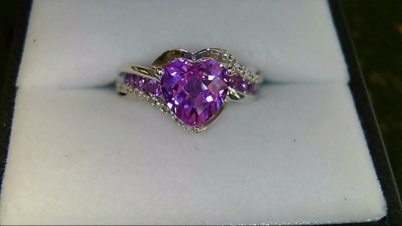 Synthetic Heart Pink Sapphire & Diamond Silver Ring 925 Sz 7