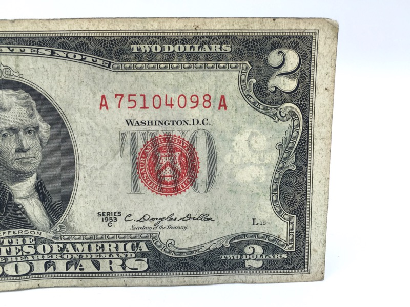 1953-C Red Seal $2 Two Dollars - Double A Serial -