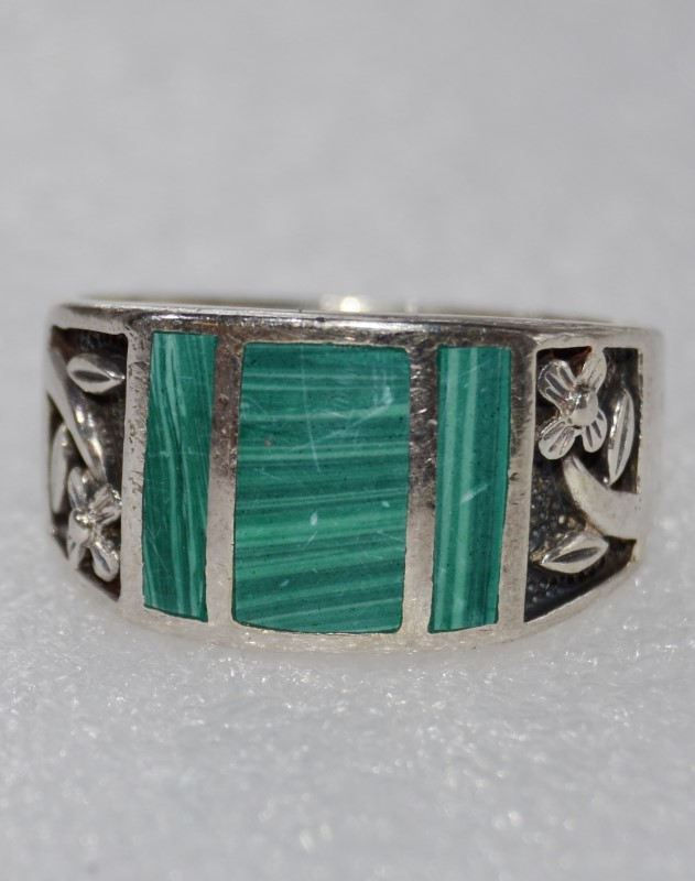 Sterling Silver Oxidized Malachite Daisy Flower Ring Size 12