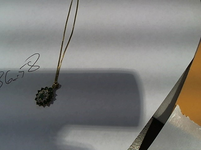 Emerald Diamond & Stone Necklace 8 Diamonds .08 Carat T.W. 14K Yellow Gold 2.8g