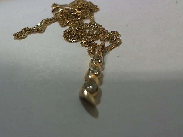 Diamond Necklace 3 Diamonds .09 Carat T.W. 14K Yellow Gold 3.7g