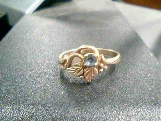 Blue Stone Lady's Stone Ring 10K 2 Tone Gold 1.8g Size:5
