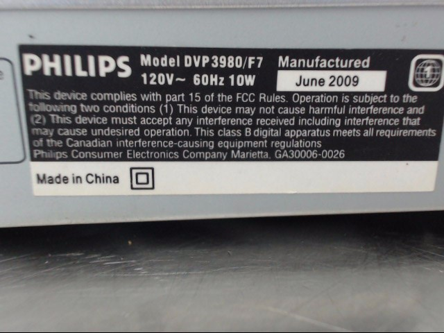 PHILLIPS DVD Player NO REMOTE DVP3980/F7