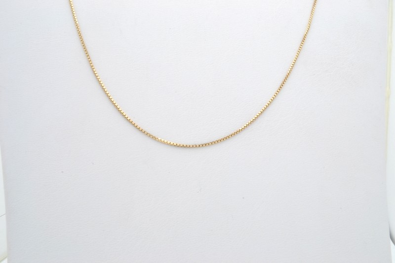 ESTATE BOX NECKLACE CHAIN SOLID 14K YELLOW GOLD FINE 585 18""