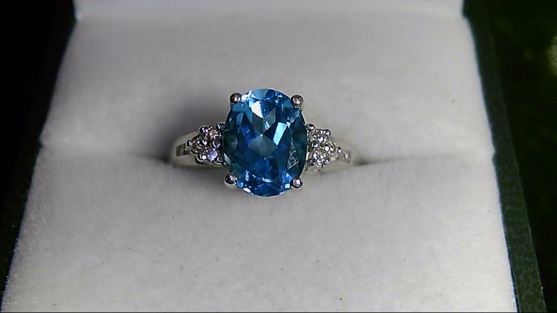 Synthetic Blue Topaz Lady's Stone & Diamond 10K Yellow Gold Ring SZ 6