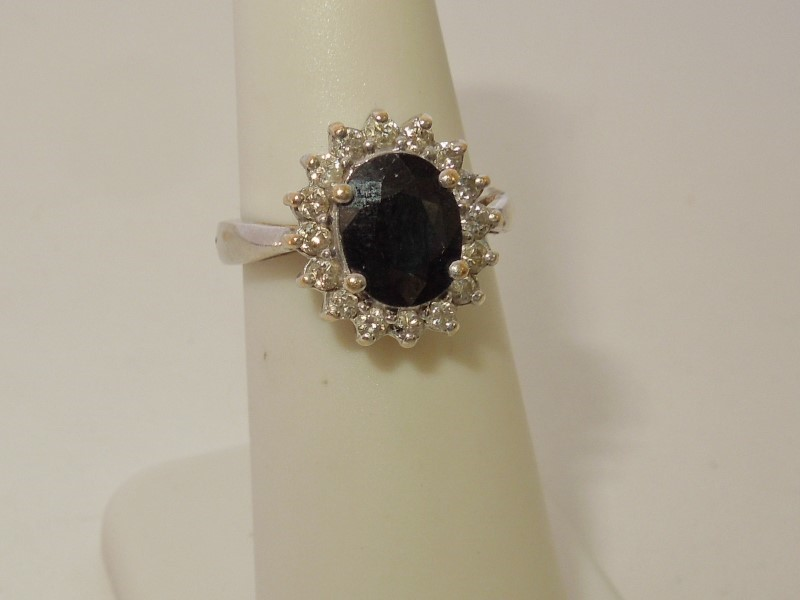 Synthetic Sapphire Lady's Stone & Diamond Ring 16 Diamonds .32 Carat T.W.