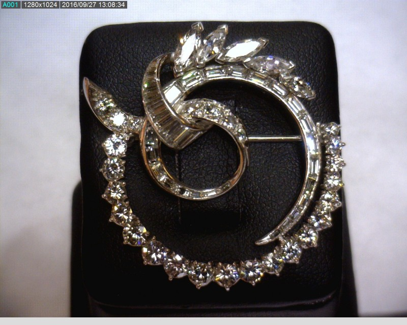 Platinum-Diamond Brooch 66 Diamonds 2.73 Carat T.W. 950 Platinum 8.15dwt