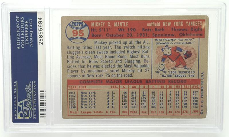 1957 TOPPS MICKEY MANTLE #95 PSA RATED-VG 3