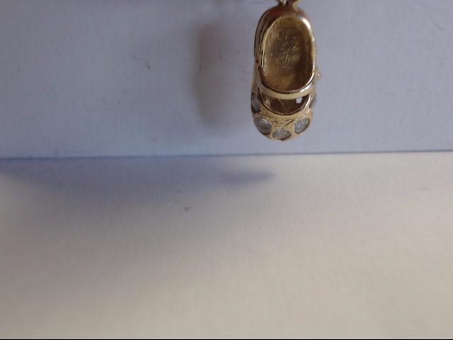 White Stone Gold-Stone Pendant 14K Yellow Gold 2.1g