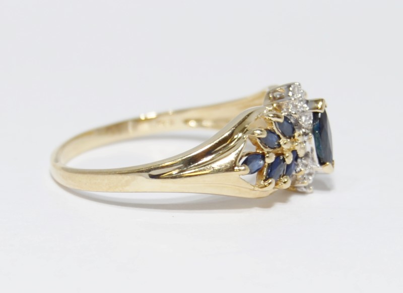 10K Yellow Gold Leaf & Vine Inspired Marquise Sapphire & Diamond Ring Size 9.5