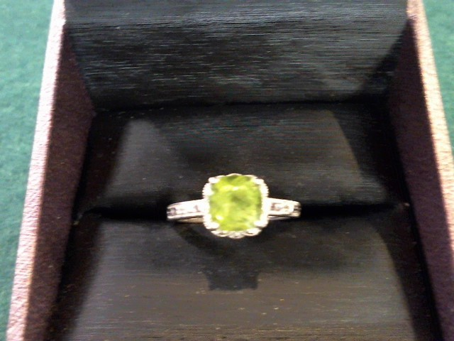 Green Stone Lady's Silver-Diamond & Stone Ring 2 Diamonds .02 Carat T.W.
