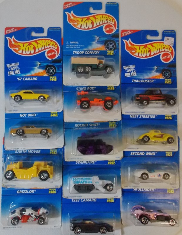 HOT WHEELS: 1996 SERIES, 13 CARS ONLY, ALL NEW IN PACKAGING