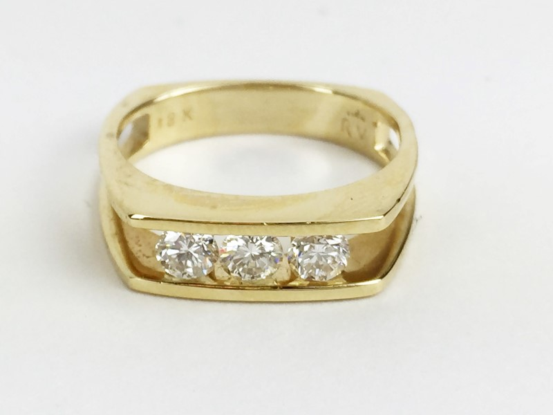 Multi Diamond Ring w 3 Diamonds .45 Carat T.W. 18K Yellow Gold 4.66g