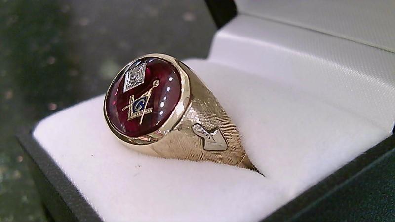 Masonic Red Stone & Diamond 10K Yellow Gold Ring Sz 12