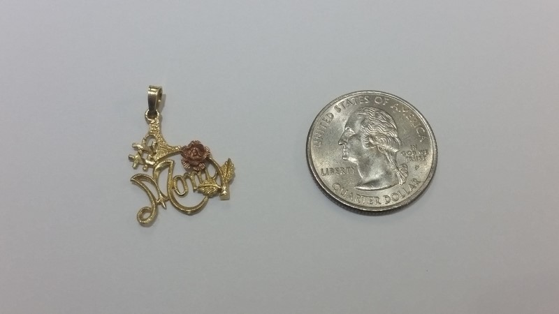 10K Two Tone Yellow & Rose Gold #1 MOM Diamond Cut Rose Pendant Fall