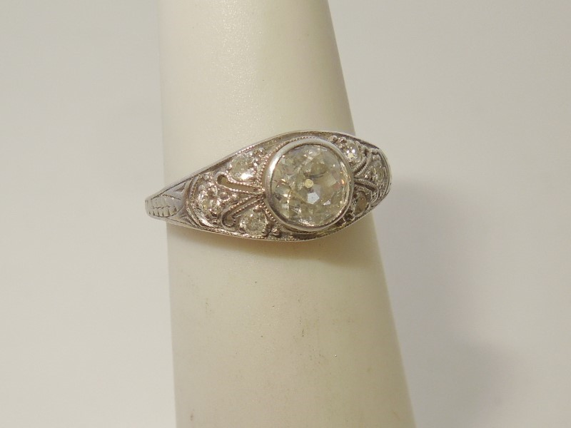 Lady's Platinum Diamond Cluster 7 Diamonds .52 Carat T.W. 950 Platinum 2.1g