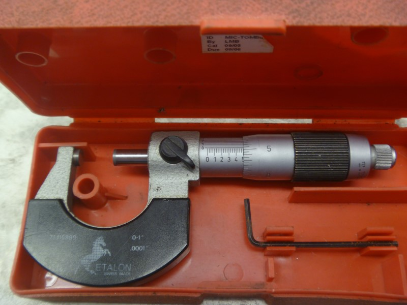 "ETALON MICROMETER 71-115899 - 0-1"" - .0001"" - WITH CASE"
