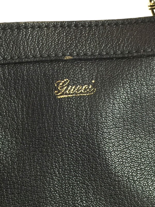 GUCCI BLACK LEATHER PRINCY CHAIN TOTE BAG