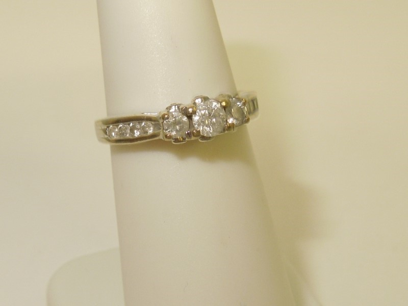 Lady's Diamond Fashion Ring 11 Diamonds .41 Carat T.W. 10K White Gold 2.3g