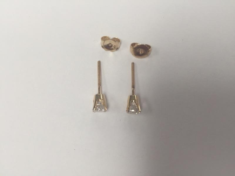 Gold-Diamond Earrings 2 Diamonds .66 Carat T.W. 14K Yellow Gold 1.22g