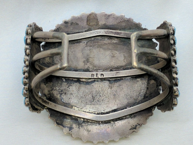 Synthetic Turquoise Silver-Stone Bracelet 925 Silver 67.2g