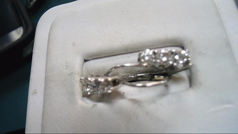 Gold-Diamond Earrings 6 Diamonds 1.20 Carat T.W. 14K White Gold 2g