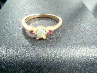 Synthetic Opal Lady's Stone Ring 10K Yellow Gold 1.6g