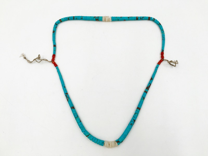 "Genuine Turquoise, Red Coral, and Shell Unisex String Necklace 21"" Length"