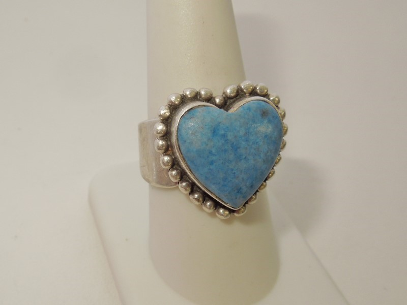 Synthetic Lapis Lady's Silver & Stone Ring 925 Silver 10.9g