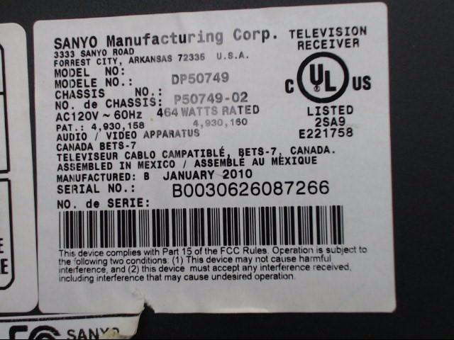 SANYO Flat Panel Television DP50749