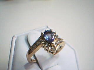 Synthetic Tanzanite Lady's Stone & Diamond Ring 19 Diamonds .38 Carat T.W.
