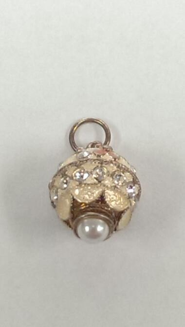FABERGE INSPIRED WHITE PINK GREEN ENAMEL W/ PEARL AND CZ PERFECT FOR EASTER