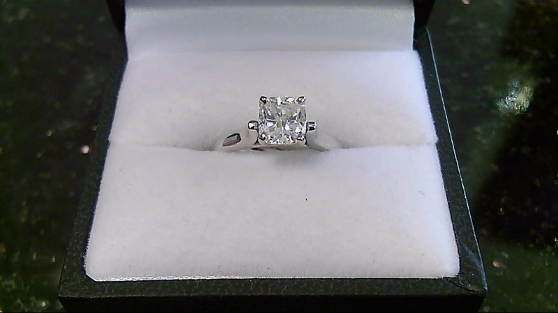 Lady's Diamond Engagement Ring 1.16 CT. 14K White Gold 3.4g Size:4.8