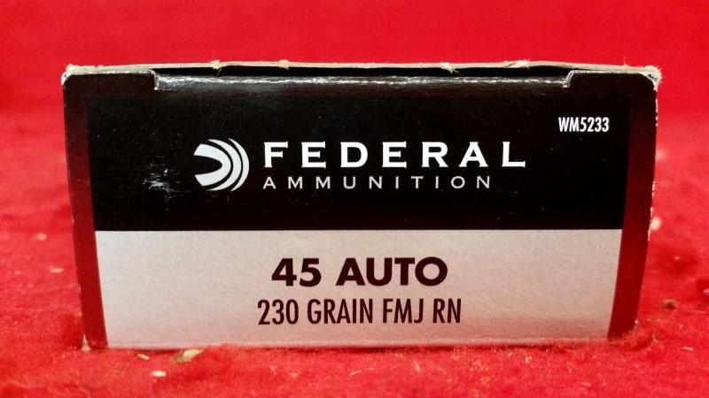 Federal Ammo 45acp 230gr FMJ RN / 50rd Box