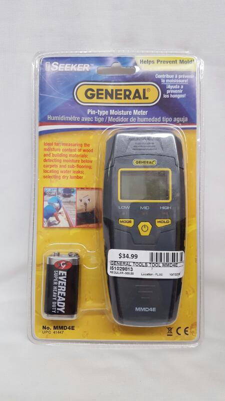 GENERAL TOOLS The Seeker Pin-Type Moisture Meter MMD4E