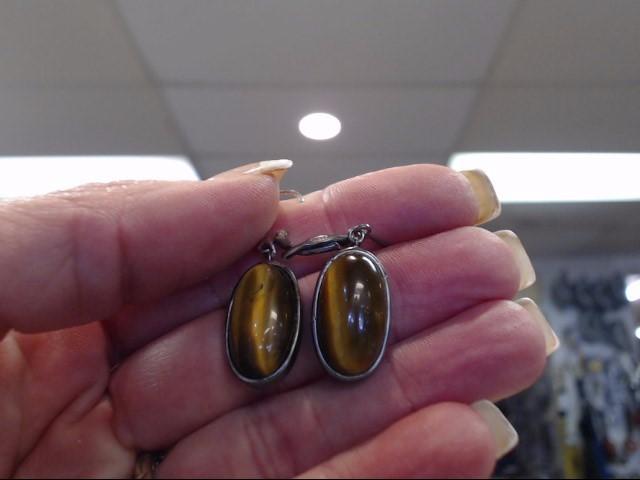 Brown Stone Silver-Stone Earrings 925 Silver 4.15dwt