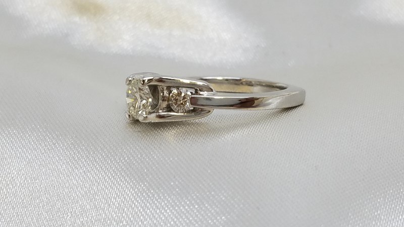 Engagement Ring Past Present Future Euro Shank .72 Carat TW 14K White Gold 3.8g