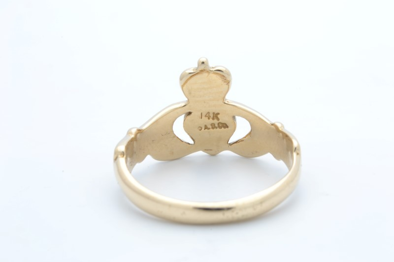 ESTATE CLADDAGH RING SOLID 14K GOLD CROWN HEART HAND IRISH SIZE 5.75