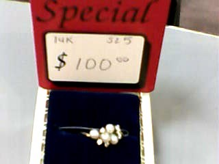 Pearl Lady's Stone & Diamond Ring 6 Diamonds .12 Carat T.W. 14K Yellow Gold
