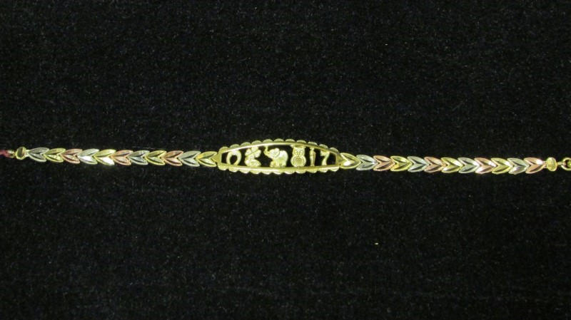 Gold Fashion Bracelet 10K Tri-color Gold 6.6g