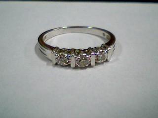 Lady's Gold-Diamond Anniversary Ring 3 Diamonds .18 Carat T.W. 10K White Gold
