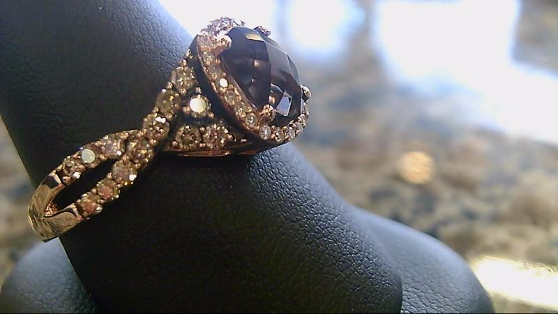 LEVIAN QUARTZ AND CHOC DIAMOND. 14K ROSE GOLD 5.2G
