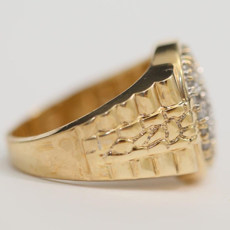 Men's 10K Yellow Gold 50 Diamond Cluster Ring Size 10